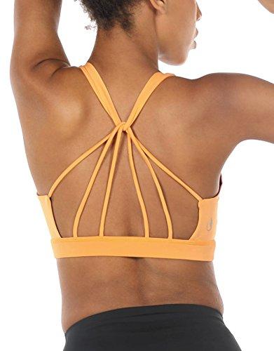 icyzone Yoga Sport-BH Damen Bustier mit Gepolstert - Atmungsaktiv Ohne Bügel Sports Bra Top (XXL, Banana Cream)