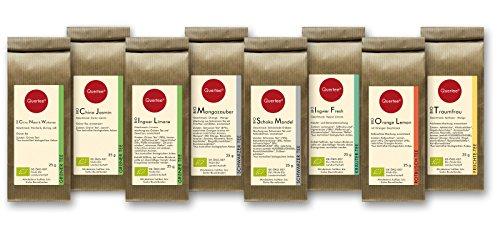 Tee Geschenkset Tee Probierset Biotee - Quertee® Nr. 1 - 8 x 25g Bio Tee als Tee Geschenk - 200 g Biotee - Güntee   Schwarztee   Früchtetee   Kräutertee   Rotbusch Tee