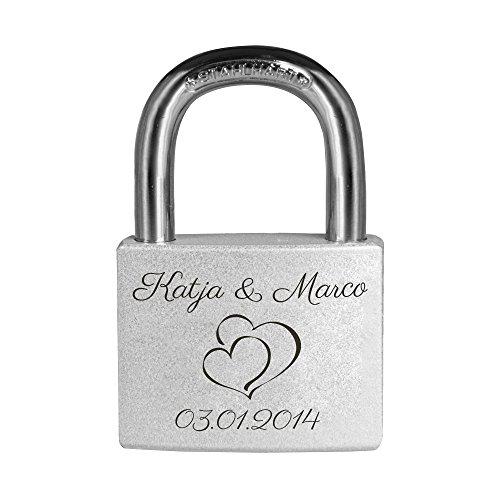 Personello® Graviertes Liebesschloss, Herz Motiv, graviert mit Namen und Datum (z.b. Jahrestag, Hochzeitstag), silber, Premium Qualität