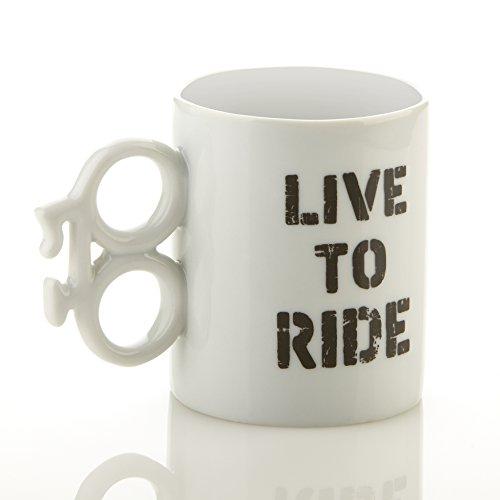 Boxer 'LIVE TO RIDE') Keramik-Tasse, Weiß