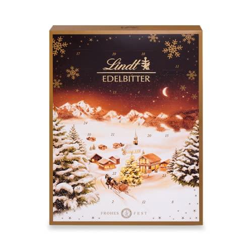 Lindt Edelbitter Adventskalender 2021   250 g Dunkle Schkolade   Edelbitterschokolade als Schokoladen-Geschenk