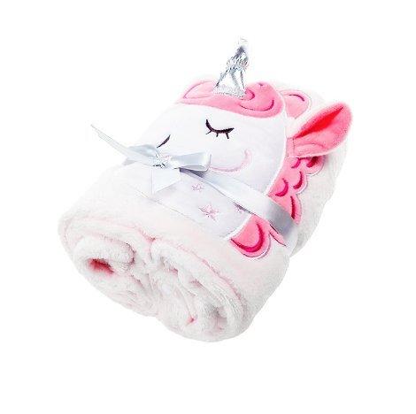 EinhornLiebe Kuscheldecke mit Einhorn | Babydecke Kinder Schmusedecke 130x81cm Fleecedecke (rosa)