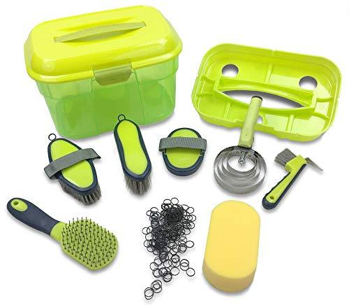 Adozen Pferde-Putzbox mit Inhalt für Kinder und Erwachsene | x-Teilig befüllt | Soft Touch Antirutschgriffe | Limette-Grün-Gelb