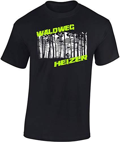 T-Shirt: Waldweg Heizer - Fahrrad Geschenke für Damen & Herren - Radfahrer - Mountain-Bike - MTB - BMX - Biker - Rennrad - Tour - Outdoor - Downhill - Dirt - Freeride - Trail - Cross, Schwarz, L