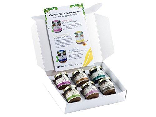 Honig Geschenk-Set 'Exotisch' - 6 Honige aus aller Welt - Avocado-Honig, Quillaya-Honig, Bio-Tropenblüten-Honig, Urwald-Honig, Yukatan-Honig, Kaffeeblüten-Honig (6 x 50g)