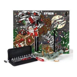 STIER Adventskalender 2019 mit einem 24-teiligem Steckschlüssel Set und praktischer Stofftasche