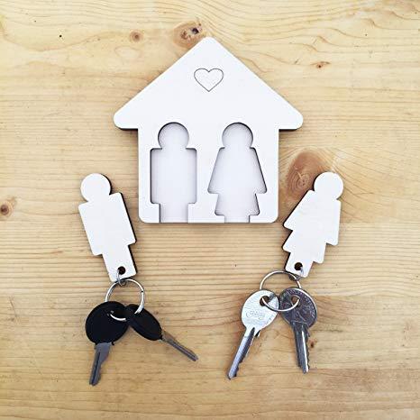 LAC Schlüsselanhänger mit Schlüsselhalter aus Holz Für Haus und Büro das perfekte Wohnaccessoire Paare Sie und Ihn pärchen couple geschenk umzug einweihungsgeschenk einzugsgeschenk wohnung zum einzug