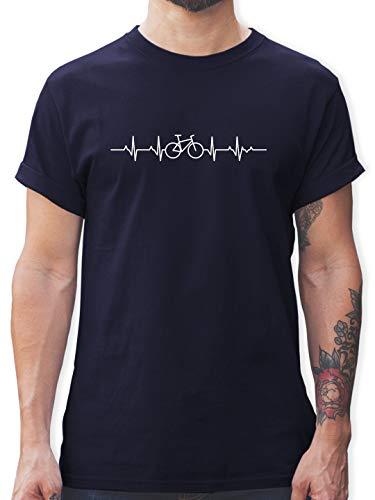 Fahrzeuge Fahrrad Bagger und Co. - Herzschlag Fahrrad - L - Navy Blau - t Shirt Fahrrad - L190 - Tshirt Herren und Männer T-Shirts