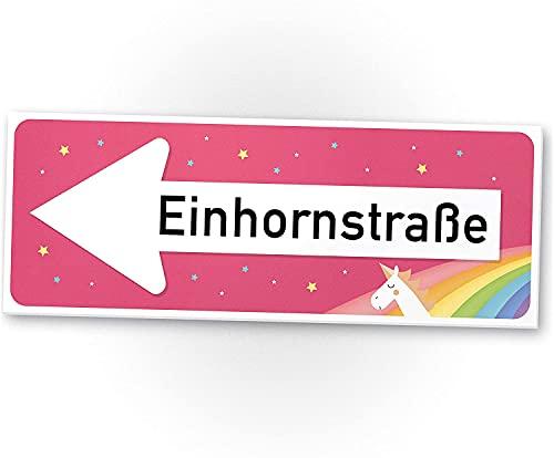 Einhorn Kunststoff Schild - Einhornstraße 40 x 15cm Süße Deko - Wanddeko, Türschild Mädels, Mädchen-Zimmer, Geschenkidee Geburtstagsgeschenk - Kleines, Lustiges Geschenk für Sie - beste Freundin