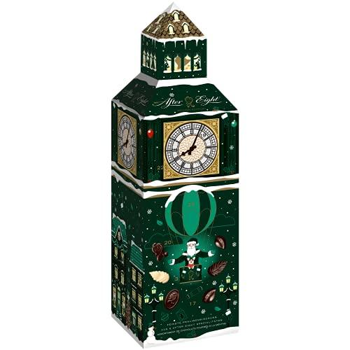 Nestlé AFTER EIGHT Adventskalender, Weihnachtskalender für Erwachsene, dekoratives Big Ben Design, 185g