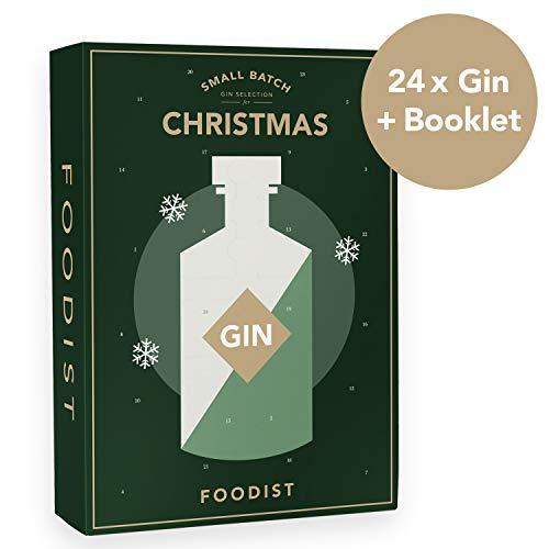 Foodist Gin Adventskalender 2019 - Exklusives 24er Miniatur-Gin Geschenk Set inkl. Cocktailrezepten und Gin-Tasting Guide für Gin-Liebhaber (Gin 2019)