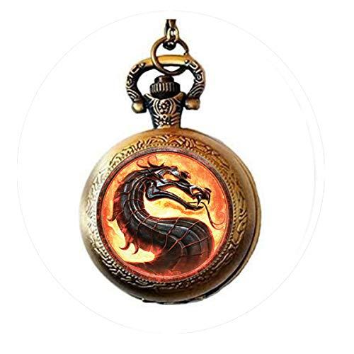 bab Halskette mit Drachen-Anhänger, Glaskuppel, Schmuck, leuchtende Taschenuhr
