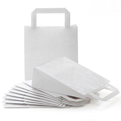 Logbuch-Verlag 10 kleine WEISSE Papiertaschen Papiertragetasche 18 x 8 x 22 cm Geschenktüte zum Bemalen Verpackung Geschenktasche Geschenkbeutel Papier Tüte