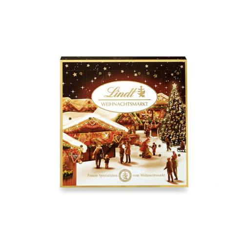 Lindt Weihnachtsmarkt Mini-Tisch-Adventskalender 2021   115 g Mini Schokoladen-Kugeln   Ideales Schokoladen-Geschenk