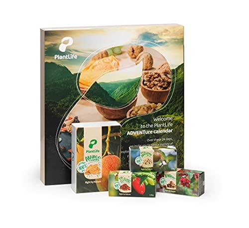 PlantLife Adventskalender 2021 – Veganer Weihnachtskalender mit feinsten BIO Nüssen, Trockenfrüchten und Mischungen in Rohkost-Qualität inkl. 20€ Gutschein – Gesamtinhalt: 790g