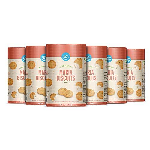 Amazon-Marke: Happy Belly - Spanische Marie-Kekse, ohne Zuckerzusatz, 6 x 400 g