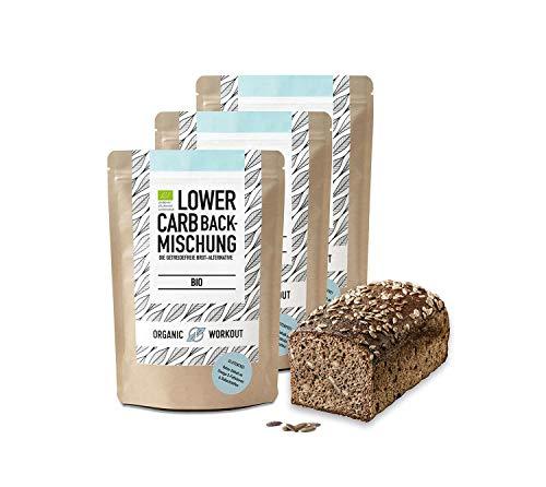 Organic Workout LOWER-CARB-BACKMISCHUNG 3er Pack – Bio, vegan, glutenfrei, Eiweiss-Brot-Alternative, 3x350g, ballaststoffreich, ohne Milch, ohne Getreide