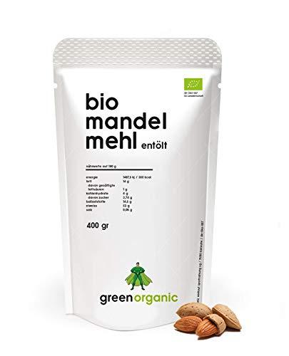 BIO PREMIUM MANDELMEHL – weiß, lower-Carb, glutenfrei, vegan, entölt, proteinreich, ballaststoffreich, Paleo Superfood, nachhaltig und fair angebaut (400g)