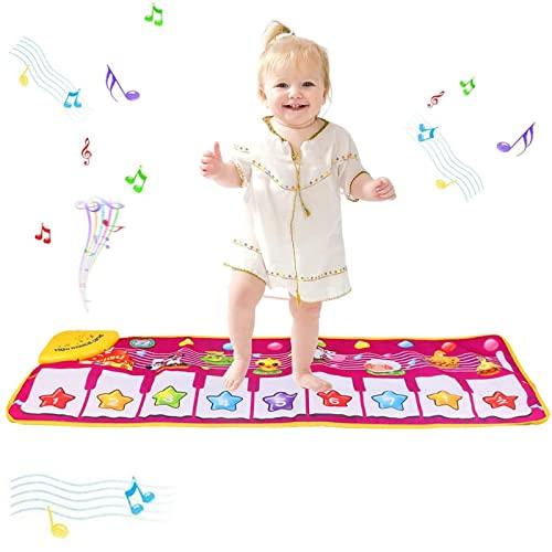 PROACC Aktualisierung Klavier Playmat, Kinder Klaviertastatur Musik Playmat Spielzeug, große Größe (39 * 14 Zoll) lustige Tanzmatte für Babys Kleinkind Jungen und Mädchen Geschenk (rot)
