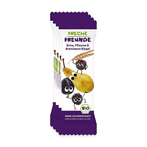 Freche Freunde Bio Frucht-Riegel Birne, Pflaume & Brombeere, ohne Zuckerzusatz, Kindersnack ab 1 Jahr, vegan, laktosefrei, 6er Pack, 6 x (4 x 23g)