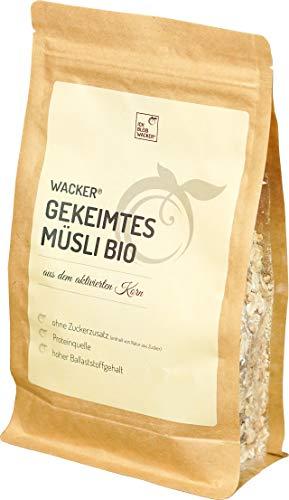 Wacker Gekeimtes Müsli Bio 350g von Sabine Wacker. Gekeimter Buchweizen, gekeimte Haferflocken und getrocknete Dattelstücke. Proteinquelle & hoher Ballaststoffgehalt.
