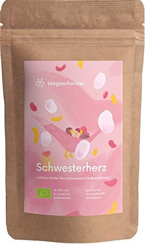 teegeschwister®   Schwesterherz   Schwester Geschenk als Geburtstag oder Weihnachtsgeschenk   BIO Weißer Tee mit Rosenblüten   85g