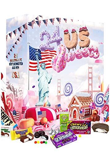 Amerikanischer Adventskalender 2021 I US Weihnachtskalender American Candy mit 24 Süßigkeiten aus den USA Sweets I Geschenkset für Erwachsene Kinder I Weihnachtszeit Adventszeit I US Süßigkeiten