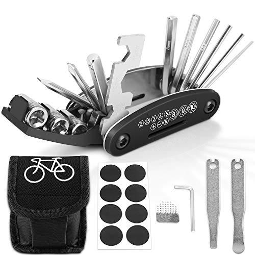 YISSVIC Fahrrad-Multitool, 16-in-1 Fahrrad Reparatur Set Fahrrad Multifunktionswerkzeug Reifenheber Selbstklebendes Fahrradflicken usw.