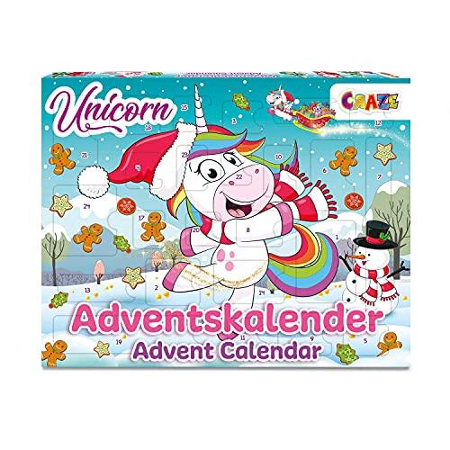 CRAZE Adventskalender UNICORN Einhorn Weihnachtskalender 2021 für Mädchen Jungen Spielzeugkalender 24 tolle Kinder Überraschungen 33388