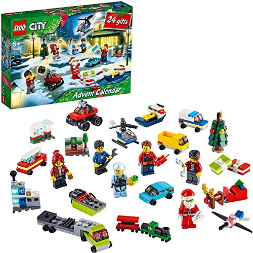 LEGO 60268 City Adventskalender 2020 Weihnachten Mini Bauset mit Kleinstfahrzeugen, Santa Schlitten und Board, Bauset