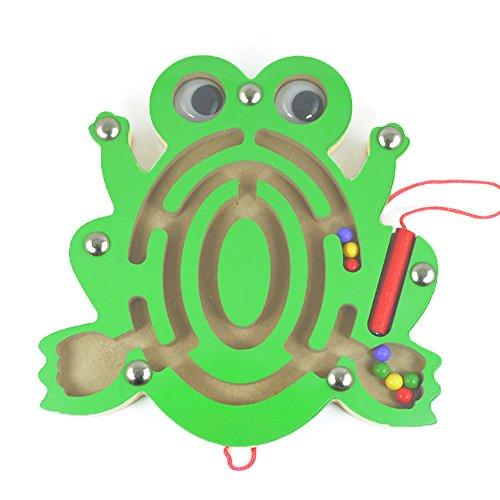 Isuper Mini Magnetspiel, Magnet Labyrinth für Kinder ab 2 Jahren Pädagogisches Motorikspiel Holzspielzeug, Frosch
