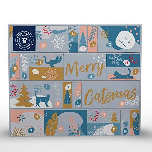 Pets Deli Adventskalender für Katzen | enthält Verschiedene Katzenfutter und Snacks | Geschenk für Katzenliebhaber zu Weihnachten | jeden Tag eine Überraschung | Weihnachtskalender mit Nassfutter