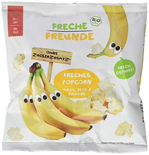 Freche Freunde Bio Popcorn Mais, Reis & Banane, ohne Zuckerzusatz, Knabbersnack für Kinder & Babys ab 1 Jahr, 16er Pack (16 x 20 g)