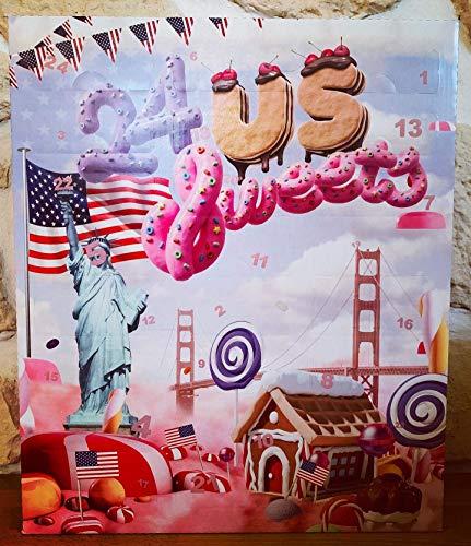 Amerikanische Süßigkeiten Adventskalender 2018 - mit 24 American Sweets aus den USA. Ausgefallener Adventskalender für US-Fans