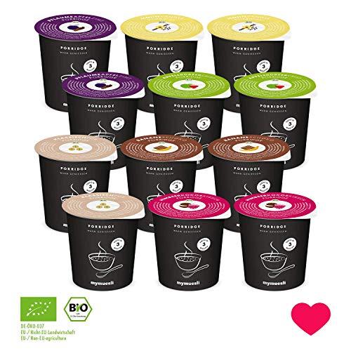 Porridge2go Probierpaket von mymuesli – 12x Bio-Porridge – 45g Portionsbecher – Hergestellt in Deutschland aus 100% Bio-Zutaten