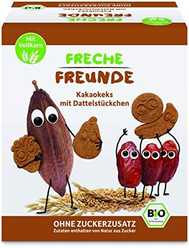 FRECHE FREUNDE Bio Kakaokekse mit Dattelstückchen, ohne Zuckerzusatz, mit Vollkorn, vegan, 6x 125g