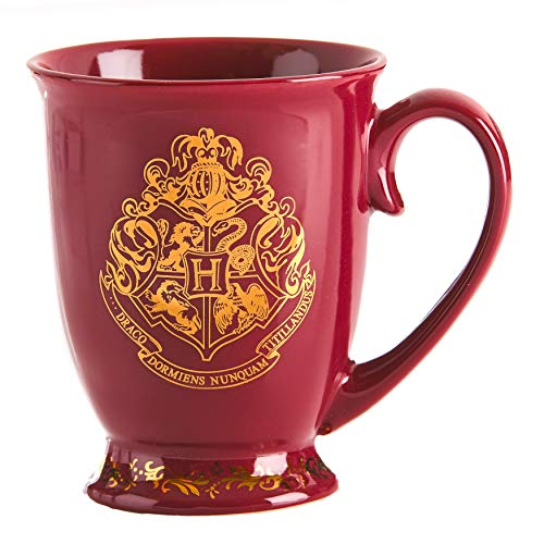 HARRY POTTER Original Hogwarts Tasse aus Keramik mit goldenem Wappen, Mehrfarbig 9cm x 12 cm x 11 cm