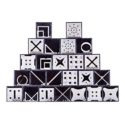 MAJOZ 24er Set Gleichgewicht Labyrinth Knobelspiele Puzzle Geschenke für Kinder Teenager Erwachsene Geschenk