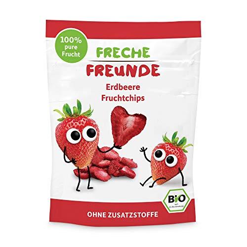 FRECHE FREUNDE Bio Fruchtchips '100% Erdbeere', gefriergetrocknet Obst Chips Erdbeere, ohne Zuckerzusatz, vegan, laktosefrei, glutenfrei, 12er Pack (12 x 12 g)