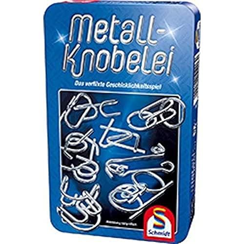 Schmidt Spiele 51206 Metall Knobelei Duell, Bring micht mit Spiel in der Metalldose, Blau