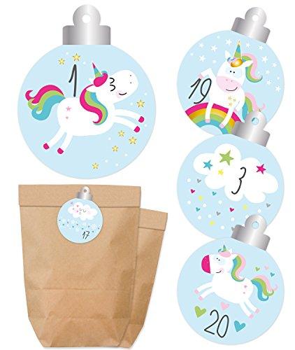 KuschelICH Einhorn Adventskalender zum Befüllen - Papiertüten & Sticker mit Zahlen - Weihnachtskalender selber Machen