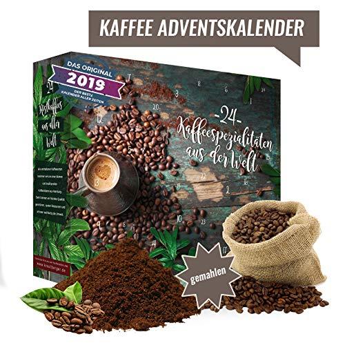 Kaffee-Adventskalender I Weihnachtskalender mit 24 köstlichen Kaffees aus aller Welt I Kaffeeweltreise Geschenkset erlesener feiner gemahlener Kaffee weltweit als Probierset.