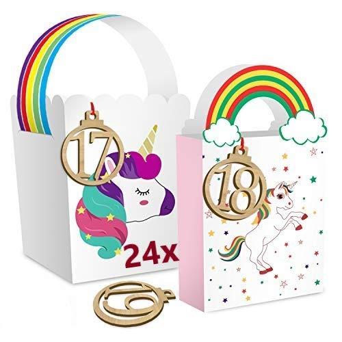 24x Einhorn Adventskalender 2020 | Papierdrachen Adventskalender zum Befüllen & selber basteln mit 3x Ersatztüten für Kinder