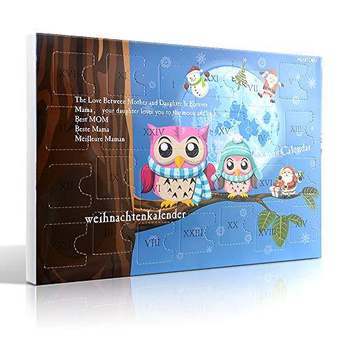 MJARTORIA Schmuck Adventskalender 2021 für Mädchen Frauen Teenager Kinder mit 24 Überraschungen Xmas Weihnachtskalender Choker Kette Weinglas Marker Brosche Button Charms(Blau Eule)