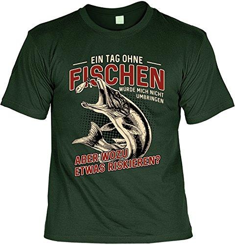 Angler T-Shirt für Männer - EIN Tag ohne Fischen - Herren Shirts grün lustiges Geschenk-Set Bedruckt mit Urkunde