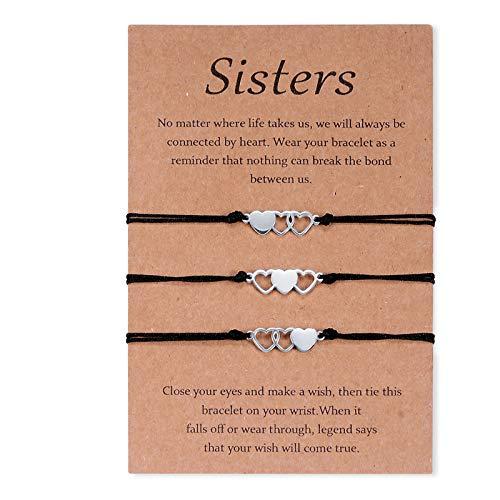CheersLife 3 Stück Schwester Armband Edelstahl passende Armbänder Geschenk für Mutter und Tochter Hollow Out Herz Armbänder