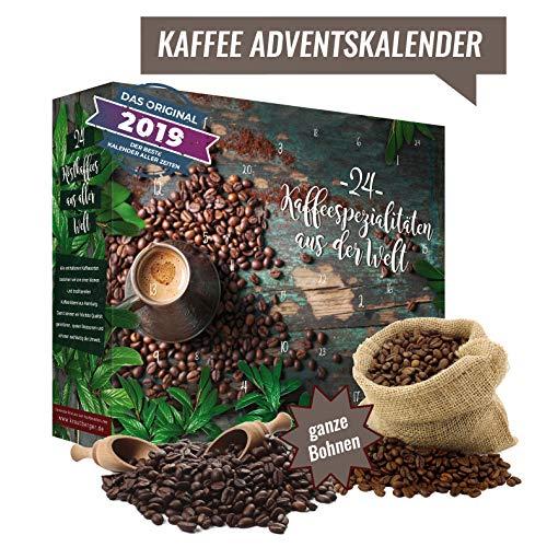 Ganze Bohnen Kaffee Adventskalender I Weihnachtskalender mit 24 edlen Kaffees aus aller Welt I erlesene Bohnen Kaffee Kalender als Probierset zum Verschenken