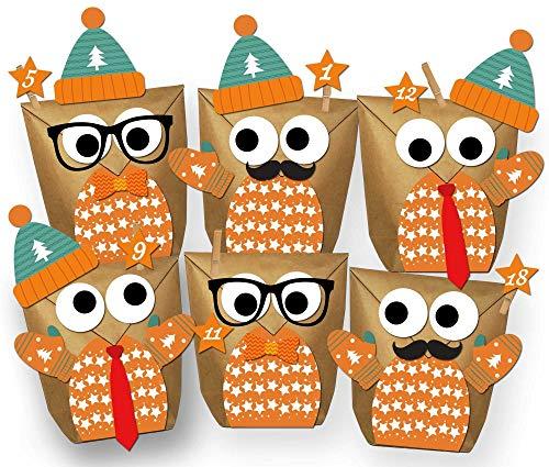 Paul´s Papierfabrik Set 24 Eulen Adventskalender Weihnachten 2021 - Alle Teile vorgestanzt! Geschenktüten Geschenkpapier zum selber Befüllen - DIY zum Basteln ohne Schere - 100% recyclebar!