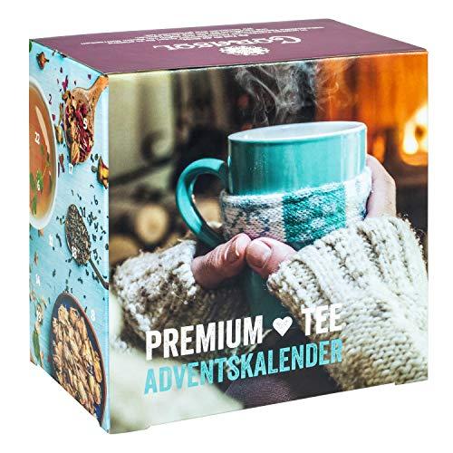 Premium Tee-Adventskalender 2021 mit 24 weihnachtlichen Gourmet-Teesorten, 223 g loser Tee, Geschenk-Idee für Frauen