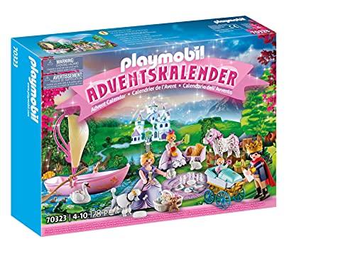 PLAYMOBIL Adventskalender 70323 Königliches Picknick im Park mit zahlreichen Figuren, Tieren und Zubehörteilen hinter jedem Türchen sowie einem schwimmfähigen Boot, 128-teilig, Ab 4 Jahren